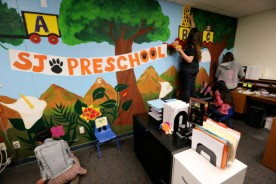 Students from San Jacinto High School paint a mural they designed at San Jacinto Preschool in San Jacinto Tuesday, Mar. 7, 2017. FRANK BELLINO, THE PRESS-ENTERPRISE/SCNG